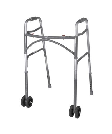Bariatric Aluminum Folding Walker with Heavy- Duty Wheels DRI10220-2WW