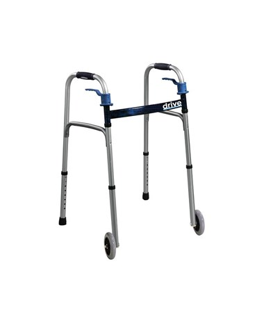"""Drive 10226-1  	Deluxe Trigger Release Folding Walker with 5"" Wheels"""