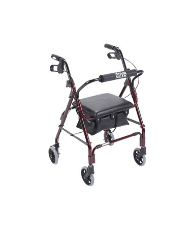 """Drive 543 Designer Winnie, Mini Lite Deluxe Aluminum Rollator, Padded Seat, 6"" Casters with Loop Locks"""