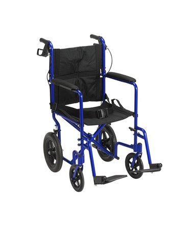 """Drive EXP19LTBL Lightweight Expedition Transport Wheelchair with Hand Brakes Blue"""