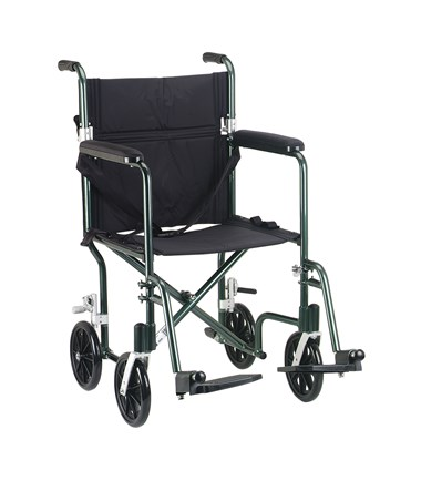 """Drive FW17GR Deluxe Fly-Weight Aluminum Transport Chair - Green"""