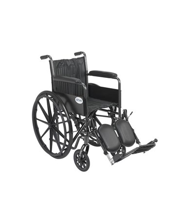 """Drive Silver Sport 2 Wheelchair with Non Removable Fixed Arms and Elevating Leg rest"""