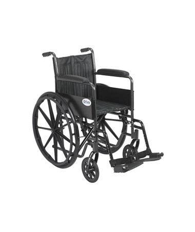"""Drive Silver Sport 2 Wheelchair with Non Removable Fixed Arms and Swing Away Footrest"""