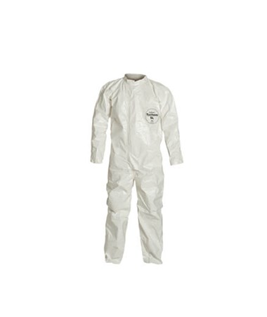 White Tychem SL Coverall with Sealed Seams and Zipper Front DUPSL120T