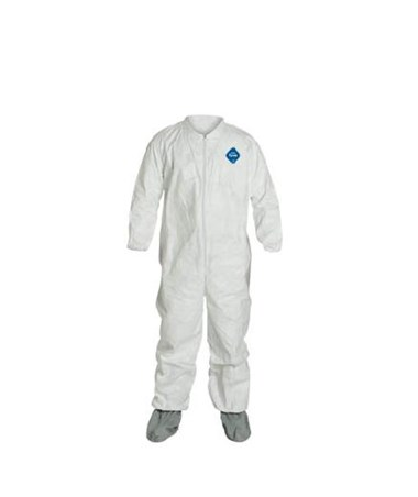 White Tyvek TY Coverall with Attached Tyvek FC Friction Coated Boots DUPTY121SWH