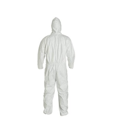 White Tyvek TY Coverall with Integrated Hood and Zipper Front DUPTY127SWH