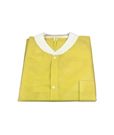 Dynarex #2042, 2043, 2044, 2045, 2046, Lab Jacket SMS with Pockets, Yellow, Small, Medium, Large, Xlarge, 2XL, 10 per Bag, 30 Bag/Case