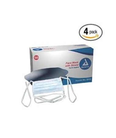 Dynarex #2206 Surgical Face Mask w/Ties with Plastic Shield, 50 masks in a box, 4 boxes in a case, total of 200 masks
