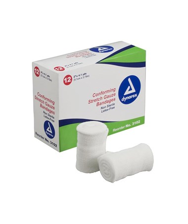 "#3202 Stretch Gauze Bandage Roll N/S 2"" width, 12 rolls to a box/ 8 boxes, total of 96 rolls in a case"