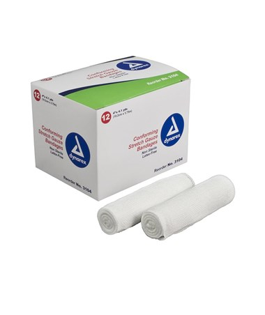 "#3204 Stretch Gauze Bandage Roll N/S 4"" width, 12 rolls to a box/ 8 boxes, total of 96 rolls in a case"