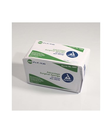 "Dynarex #3265 Gauze Sponge, Non-Sterile ""Advantage"", Economy, 4 x 4, 12 Ply, 200 Sponges per box, 10 boxes per case, total of 2,000 Sponges"