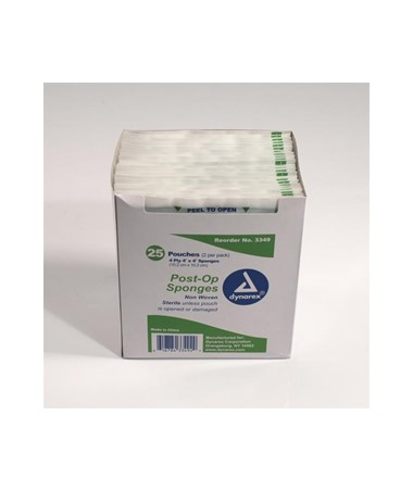 Dynarex #3349 Post -Op Sponge, Non-Woven, Sterile, 2/pk, 4 x 4, 4 Ply, 25 Sponges per box, 24 boxes per case, total of 1,200 Sponges