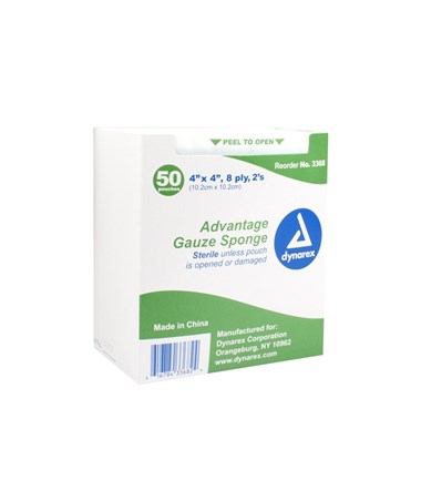 "Dynarex #3368 Gauze Sponge, ""Advantage"", Sterile, 2/pouch, 4 x 4, 8 Ply, 50 Sponges per box, 12 boxes per case,  600 pouches per case, total of 1,200 sponges"