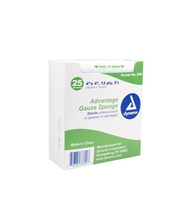 "Dynarex #3369 Gauze Sponge, ""Advantage"", Sterile, 2/pouch, 4 x 4, 12 Ply, 25 Sponges per box, 24 boxes per case, 600 pouches per case, total of 1,200 sponges"