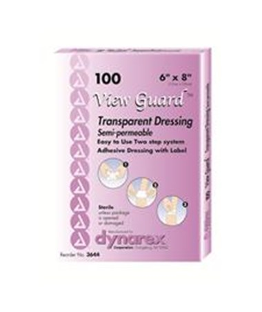 "Dynarex #3644 View Guard Transparent Dressing, 6"" x 8"", Sterile, 10 Dressings Per Box, 8 Boxes Per Case"