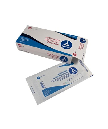 "Dynarex #4464 Self Sealing Sterilization Pouch, 5 1/4"" x 10"", 200 pouches per box, 15 boxes per case, 3000 per case"