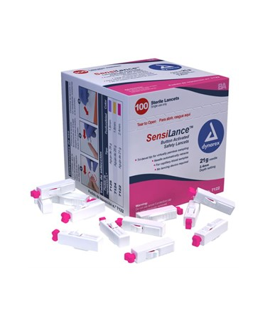 Dynarex #7122 SensiLance Safety Lancets, Button Activated, 21g, Sterile, 100 Per Box