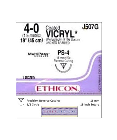 Coated VICRYL® Absorbable Sutures with Precision Reverse Cutting  Needles, 1/2 Circle, 12 per Box ETHJ507G