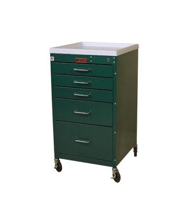 Harloff Mini Line Five Drawer Anesthesia Cart Standard Package