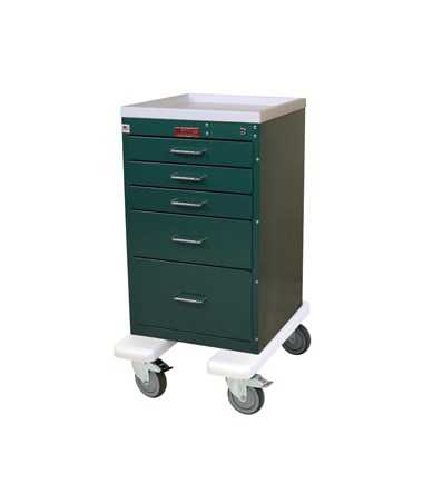 Harloff Mini Line Five Drawer Anesthesia Cart Bumper and Caster Upgrade