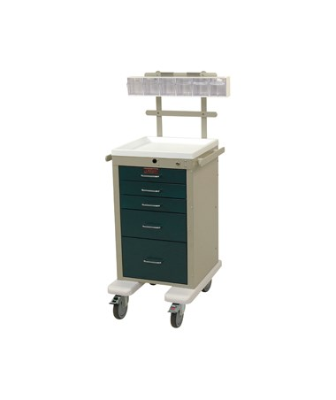 Harloff Mini Line Five Drawer Anesthesia Cart, Specialty Package & Bumper and Caster Upgrade
