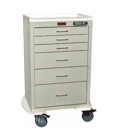 Harloff Mini24 Six Drawer Tall Cabinet Anesthesia Cart, Basic Electronic Pushbutton Lock