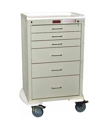Harloff Mini24 Six Drawer Tall Cabinet Anesthesia Cart, Electronic Lock with Keypad Access