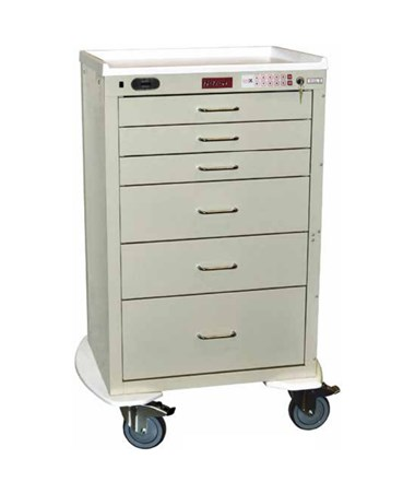 Harloff Mini24 Six Drawer Tall Cabinet Anesthesia Cart, Electronic Lock with Proximity Card and Keypad Access