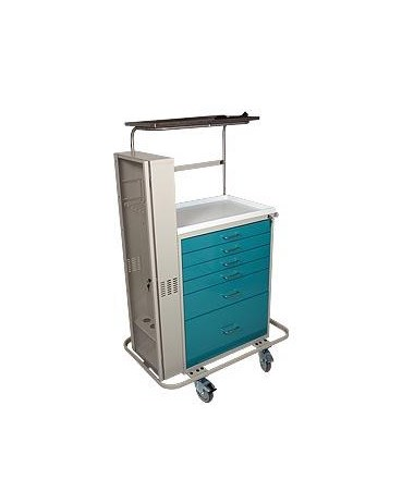 Harloff Classic Tall Six Drawer Difficult Airway Anesthesia Cart with Key Lock