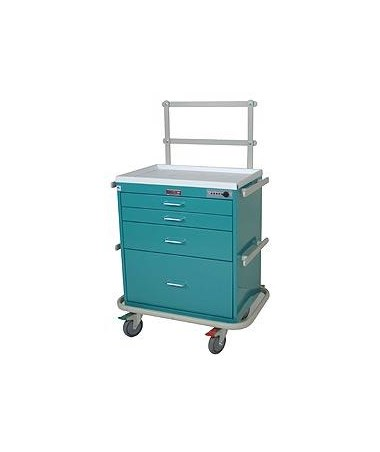 Harloff Classic Short Four Drawer Anesthesia Cart with Combination Lock, Specialty Package