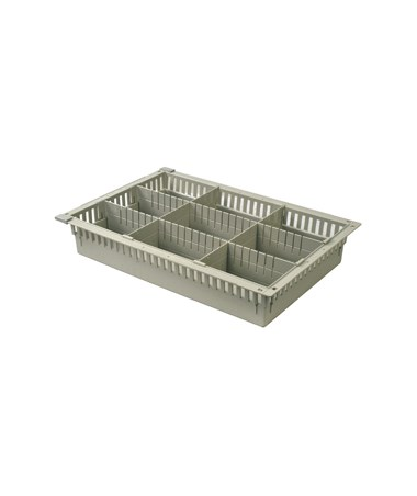 "Harloff 4"" Exchange Tray with 2 Long Dividers and 2 Short Dividers for Mobile Medical Storage"