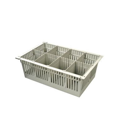 "Harloff 8"" Exchange Tray with 1 Long Divider and 3 Short Dividers for Mobile Medical Storage"