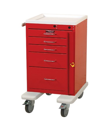 Mini Line Aluminum Five Drawer Emergency Cart HARAL3245B-