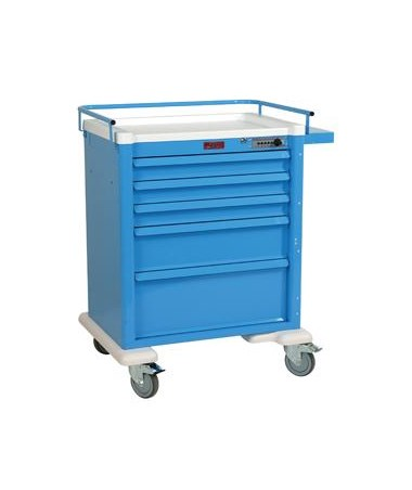 Harloff Universal Line 5 Drawer Anesthesia Cart with Mechanical Combination Lock, Standard Package