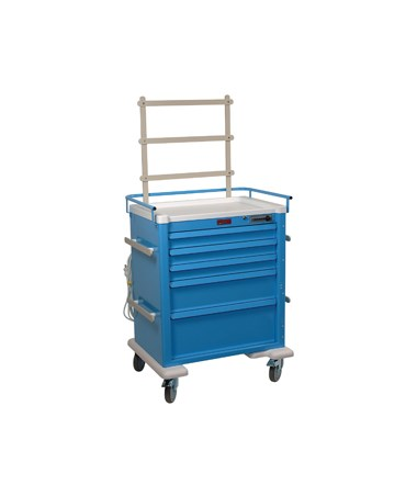 Harloff Universal Line 5 Drawer Anesthesia Cart with Mechanical Combination Lock, Accessories Package