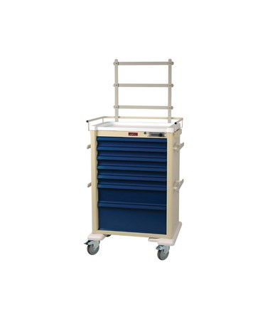 Harloff Universal Line 7 Drawer Anesthesia Cart with Mechanical Combination Lock, Accessories Package