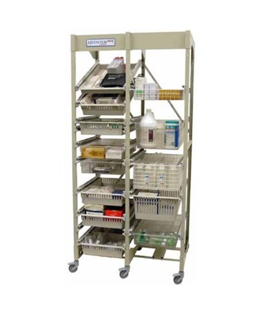 Harloff Mobile Open Frame 40 cm Width Wire Rack, Two Column