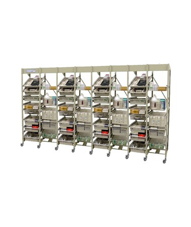 Harloff Mobile Open Frame 40 cm Width Wire Rack, Eight Column