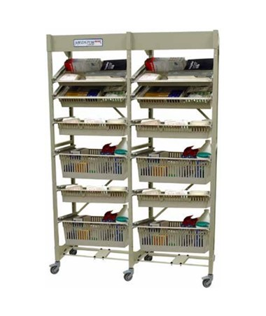 Harloff Mobile Open Frame 60 cm Width Wire Rack, Dual Column