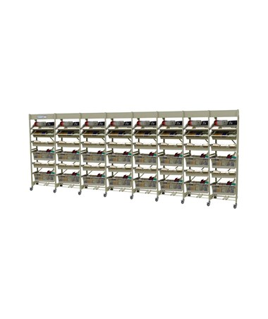 Harloff Mobile Open Frame 60 cm Width Wire Rack, Eight Column