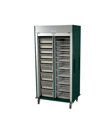 Harloff Preconfigured Double Column Medical Storage Cart with Tambour Door C Configuration