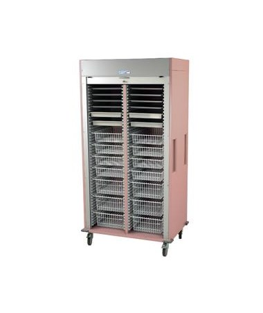 Harloff Preconfigured Double Column Cardiovascular Medical Storage Cart with Tambour Door