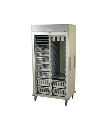 Preconfigured Double Column Urinary Medical Storage Cart with Tambour Door HARMS8140-CYSTO-