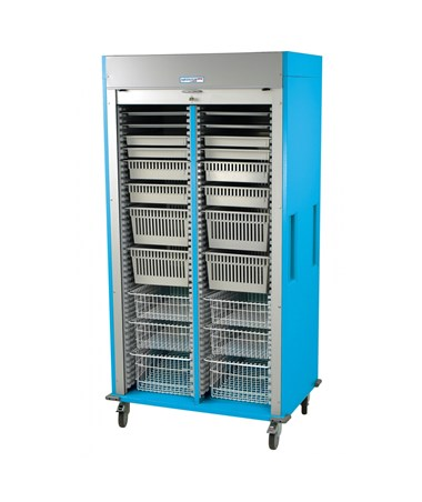 Preconfigured Double Column Ophthalmology Medical Storage Cart with Tambour Door HARMS8140-OPTHA-