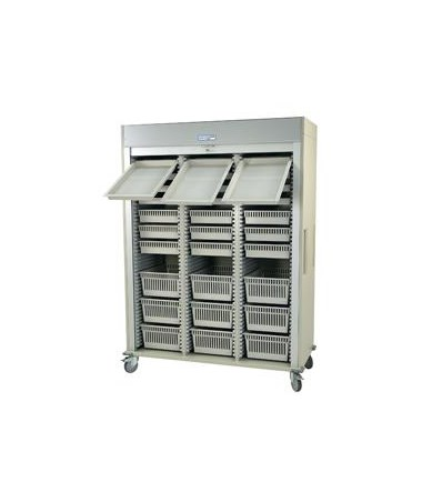 Harloff Preconfigured Triple Column Arthroscopic Medical Storage Cart with Tambour Door