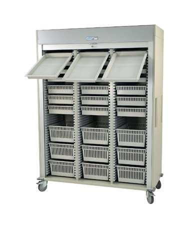 Preconfigured Triple Column Arthroscopic Medical Storage Cart with Tambour Door HARMS8160-ARTHRO-