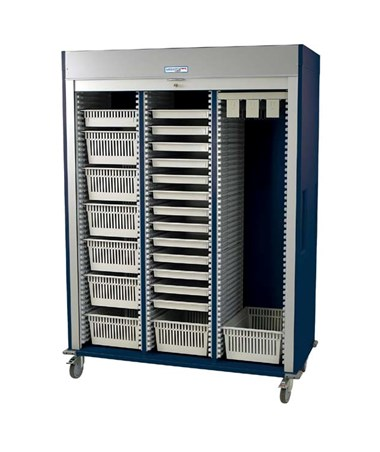Preconfigured Triple Column Cystoscopy Medical Storage Cart with Tambour Door HARMS8160-CYSTO-