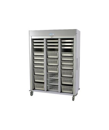 Harloff Preconfigured Triple Column Laparoscopy Medical Storage Cart with Tambour Door