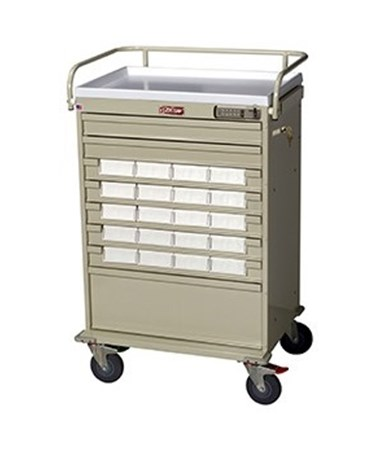 Harloff Value Line 20 Med Bin Cart with Internal Narcotics Box, Specialty Package