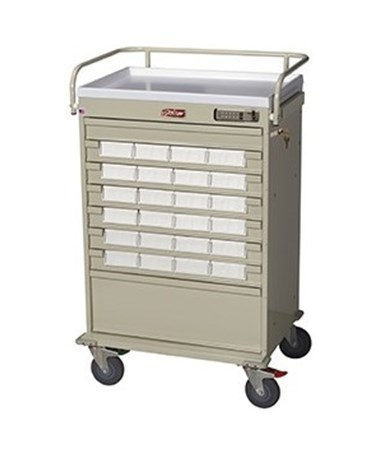 Harloff Value Line 24 Med Bin Cart with Internal Narcotics Box, Specialty Package